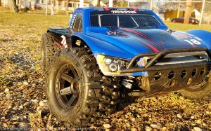 URCG Edition - Traxxas Slash 4x4 TSM OBA - ProLine Trencher Tires - named Blue Bandit (front view)
