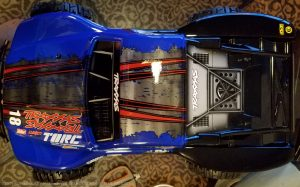 URCG Edition - Traxxas Slash 4x4 TSM OBA - ProLine Trencher Tires - named Blue Bandit (top view)