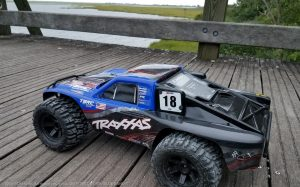 URCG Edition - Traxxas Slash 4x4 TSM OBA - ProLine Trencher Tires - named Blue Bandit (side view)