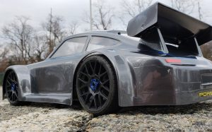 URCG Edition - Traxxas Slash 4x4, Delta Plastik USA body - Gunmetal Porsche 911 GT3, Sweep Racing Tires - named Brock (back view)