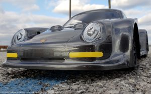 URCG Edition - Traxxas Slash 4x4, Delta Plastik USA body - Gunmetal Porsche 911 GT3, Sweep Racing Tires - named Brock (font view)