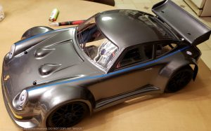 URCG Edition - Traxxas Slash 4x4, Delta Plastik USA body - Gunmetal Porsche 911 GT3, Sweep Racing Tires - named Brock (top view)