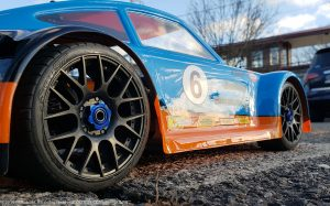 URCG Edition - Traxxas Slash 4x4, Delta Plastik USA body - Blue Porsche 911 GT3, Sweep Racing Tires - named Gulfie (side view)