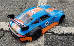 URCG Edition - Traxxas Slash 4x4, Delta Plastik USA body - Blue Porsche 911 GT3, Sweep Racing Tires - named Gulfie (top view)