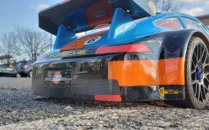 URCG Edition - Traxxas Slash 4x4, Delta Plastik USA body - Blue Porsche 911 GT3, Sweep Racing Tires - named Gulfie (rear view)