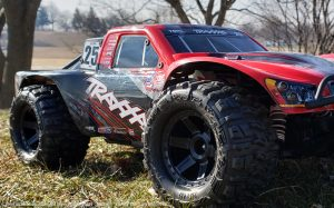 URCG Edition - Traxxas Slash 4x4 TSM OBA - Mark Jenkins, ProLine Trencher Tires - named Larry The Lawnmower (rear view)
