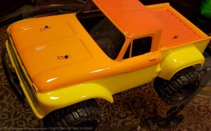 URCG Edition - Traxxas Slash 4x4, ProLine body - Yellow Ford 66 F-100, ProLine Trencher Tires - named Mac 'n' Cheese (top view)