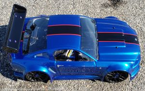 URCG Edition - Traxxas Slash 4x4, Delta Plastik USA body - Royal Blue Ford Mustang, Sweep Racing Tires - named Mustang Sally (top view)