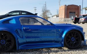 URCG Edition - Traxxas Slash 4x4, Delta Plastik USA body - Royal Blue Ford Mustang, Sweep Racing Tires - named Mustang Sally (side view)