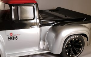 URCG Edition - Traxxas Slash 4x4, ProLine body - Silver Ford 56 F-100, Duratrax Bandito Tires - named Silver Stinger (side view)