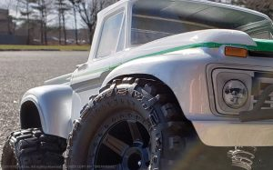 URCG Edition - Traxxas Slash 4x4, ProLine body - White Ford 66 F-100, ProLine Trencher Tires - named Spearmint (side view)