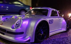 URCG Edition - Traxxas Slash 4x4, Delta Plastik USA body - Silver Porsche 911 GT3, Sweep Racing Tires - named Tuxedo Rob (front view)