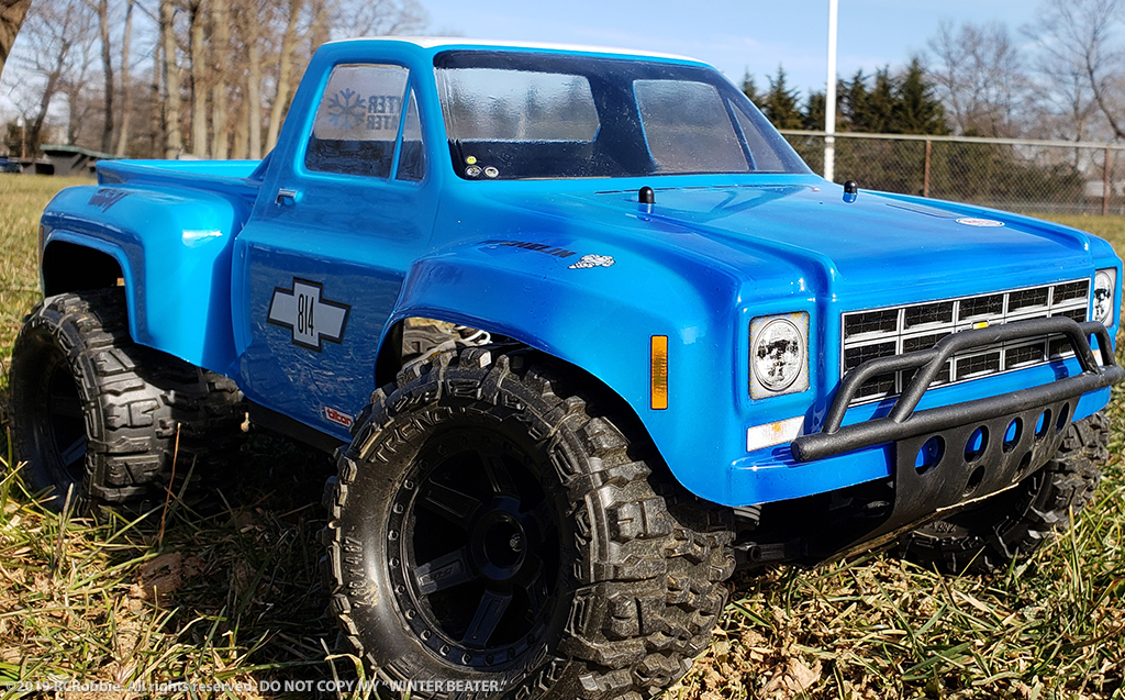 URCG Edition - Traxxas Slash 4x4, JConcepts body - Blue Chevy 78 C-10, ProLine Trencher Tires - named Winter Beater (front view)