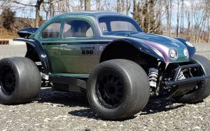URCG Edition - Traxxas Slash 4x4, Pro-Line body - Iridescent Purple/Green, Anodized Silver Aluminum Roof, and black fendered Volkswagen Beetle, Proline Prime Tires - named Green Street
