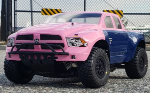 URCG Edition - Traxxas Slash 4x4, ProLine body - Pink and Blue 2013 RAM 1500, ProLine BFGoodrich Baja Tires - named Molly
