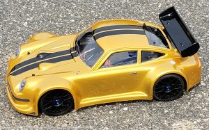 URCG Edition - Traxxas Slash 4x4, Delta Plastik USA body - Gold Porsche 911 GT3, Sweep Racing Tires - named Gold Fingaz