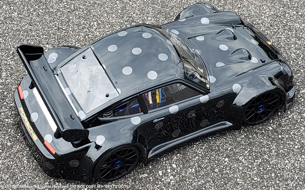URCG Edition - Traxxas Slash 4x4, Delta Plastik USA body - Black Porsche 911 GT3, Sweep Racing Tires - named Betty Dots