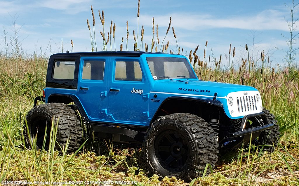 URCG Edition - Traxxas Slash 4x4, ProLine body - Light Blue Jeep Wrangler Unlimited Rubicon 4-Door, ProLine Trencher Tires - named ROTO-WRANGLER