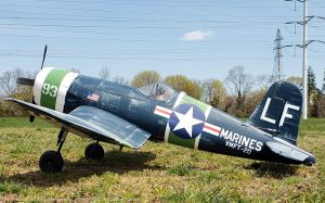 URCG Edition - E-flite RC Navy Vought F4U Corsair 4-Blade Propeller BNF - Navy Blue, Light Green, White with detailed Pilot Training Livery - named Charlie