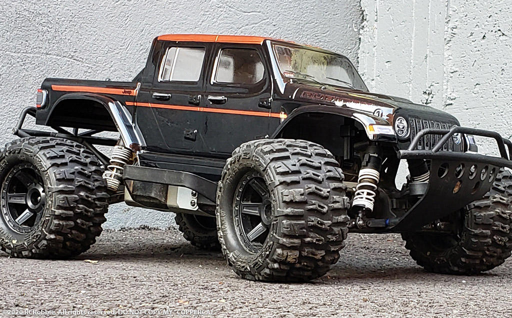 URCG Edition - Traxxas Slash 4x4, ProLine body - Light Blue Jeep Gladiator Rubicon 4-Door, ProLine Trencher Tires - named COPPER CAT