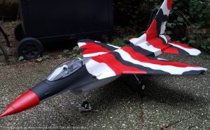 URCG Edition - E-flite RC Thunderbirds F-16 70mm EDF BNF - 3-Color Red Desert Camo F-16 with Gray Belly - named MACH RED