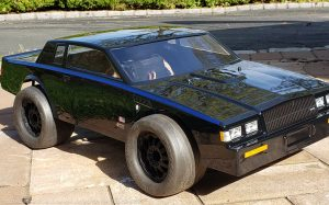 URCG Edition - Traxxas Slash 4x4, JConcepts body - Black with Metallic Blue Pinstriped 1982 Buick Grand National, 2-Door, ProLine Prime Tires - named GRAND NATS