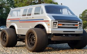 URCG Edition - Traxxas Slash 4x4, Proline body - Silver with Red and Blue Pinstripes 1970's Chevy Van, ProLine Prime Tires - named LUNCH ROX